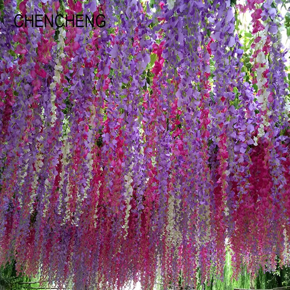 Chencheng 12 Pieces Lot Artificial Silk Wisteria Flower Vines