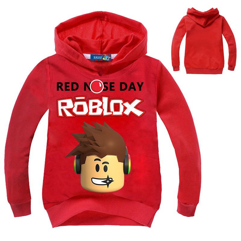 2018 New Kids Roblox Red Nose Day Pullover Hooded Sweatshirt Boys Girls Autumn Cotton T shirt Fashion Cartoon Tops 3-14 years red hooded design pullover long sleeves sweatshirt