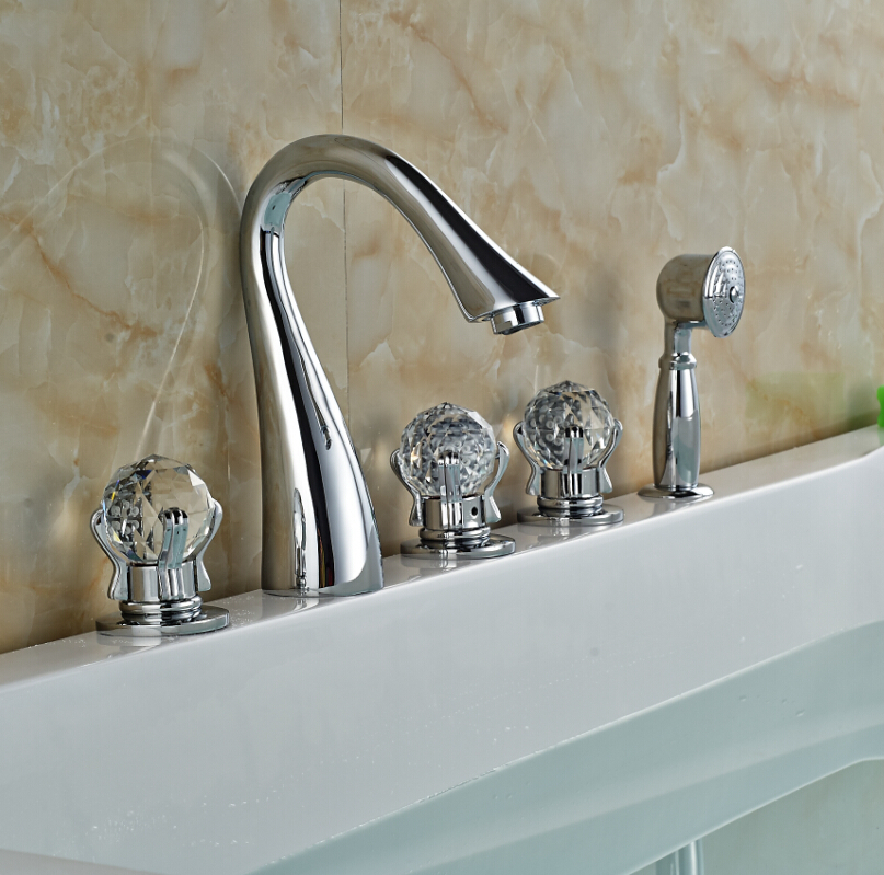 Crystal handles chrome brass bathroom basin faucet w hand - Bathroom sink faucet with sprayer ...