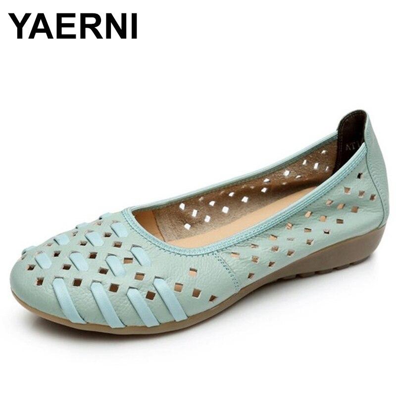 YAERNISummer Women Shoes Woman Fashion Genuine Leather Flat Sandals Woman Casual Comfortable Soft Sandals women's wedges shoes