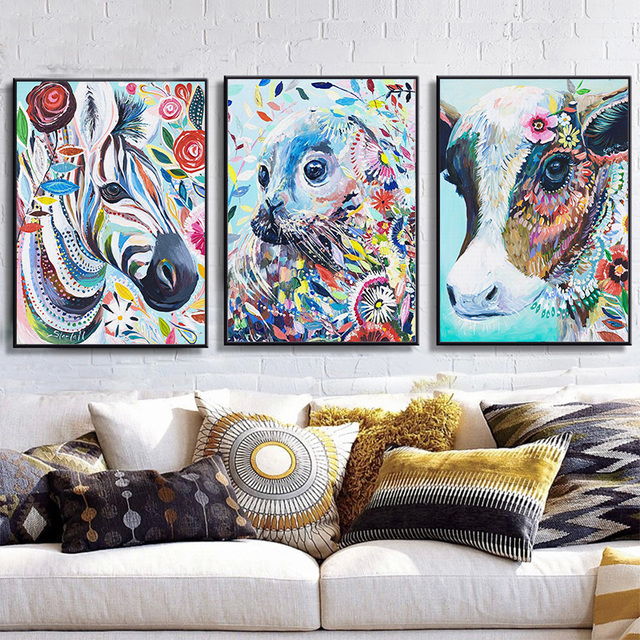 ONESAID Colorful Animal Horse Owl Deer Canvas Painting Art Print ...