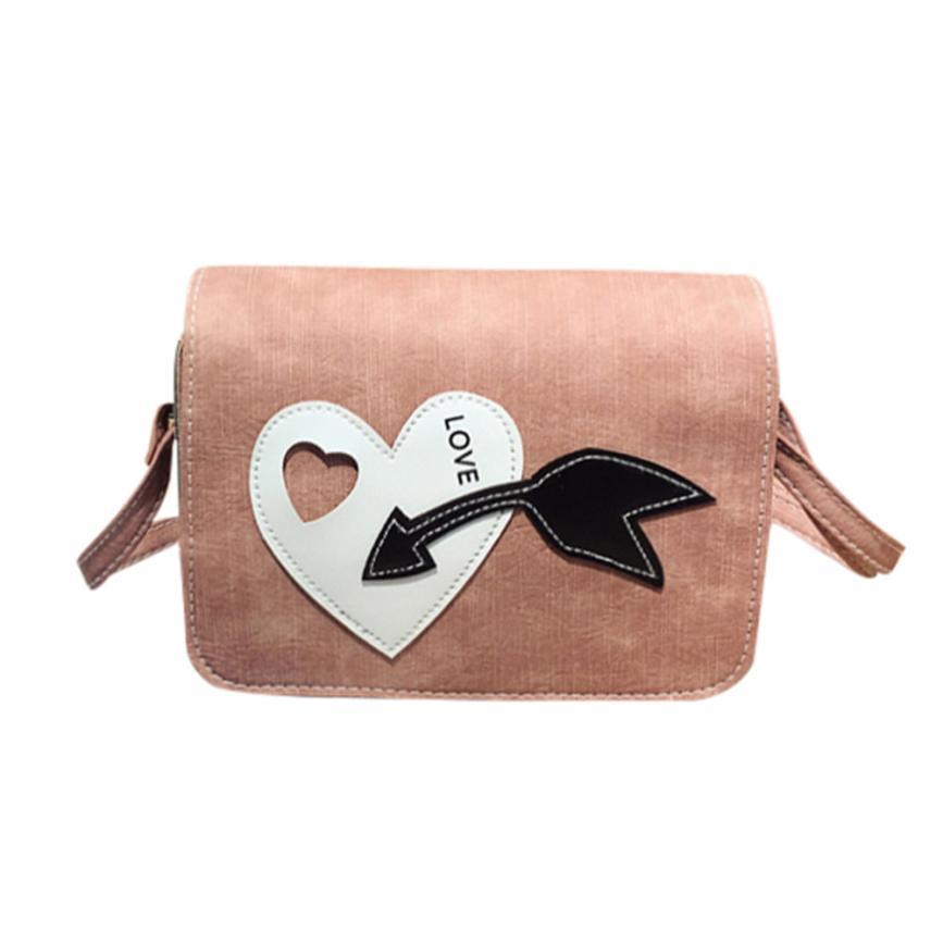 Последняя женская мода Искусственная кожа в форме сердца Простой сумка через плечо сумка женская сплошной цвет молнии Сумочка # F