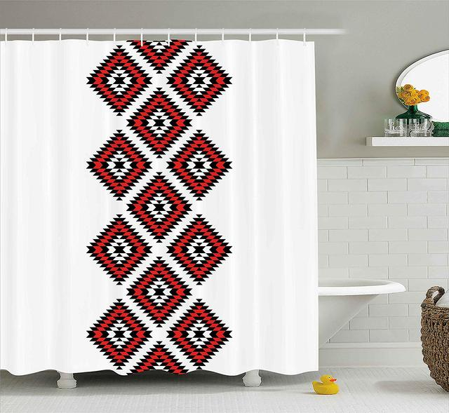 Tribal Shower Curtain Native American Style Zig Zag Aztec Motif With Embroidery Ornaments Image Fabric Bathroom Decor