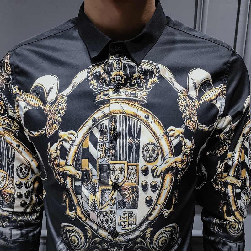 Talla grande 4XL negro oro estampado camisas hombres barroco Slim Fit Fiesta Club Camisa hombres Camisa de lujo de manga larga