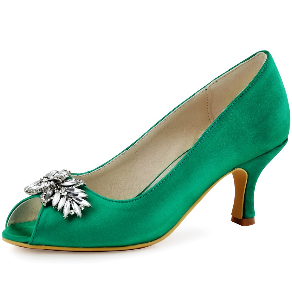 HP1540 Green Pink Champagne Women Bride Bridesmaids Peep Toe Prom Pumps Low Heels Lady Satin Wedding Bridal Party Dress Shoes hp1541 teal navy blue women bride bridesmaids peep toe prom pumps low heels satin lace rhinestones wedding bridal party shoes
