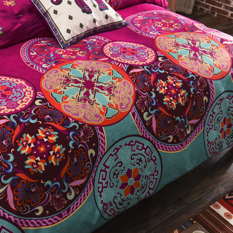 Image 2 - Boho Bedclothes Mandala Bedding Sets Duvet Cover Flat Sheet Pillowcase Twin Full Queen King Size Single Double Bed Bed Linens-in Bedding Sets from Home & Garden
