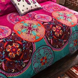Image 2 - Ropa de cama Boho conjuntos de cama de Mandala funda de edredón funda de almohada de hoja plana doble tamaño doble Doble