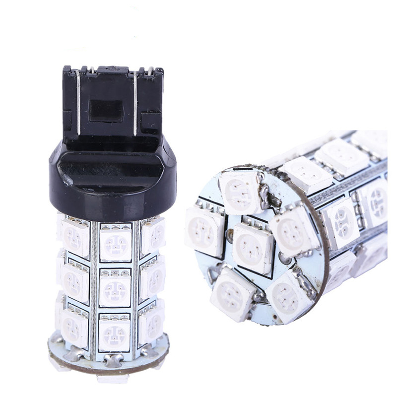 2Pcs T20 27 SMD 5050 LED Car Brake Rear Stop Light Bulbs Lamp WY21W W21 7443 360 Lighting Car Styling 2pcs brand new high quality superb error free 5050 smd 360 degrees led backup reverse light bulbs t15 for jeep grand cherokee
