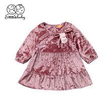145e361e6 Cute niño niños niñas vestidos de manga larga otoño terciopelo partido  Pageant A-line vestido rosa rojo de Año Nuevo vestidos pa.