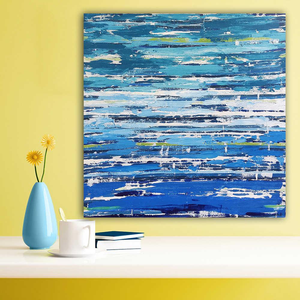 Dinding Seni Lukisan Kanvas Biru Abstrak Minyak Lukisan Dinding Gambar untuk Ruang Tamu Poster Nordic Dekorasi Rumah