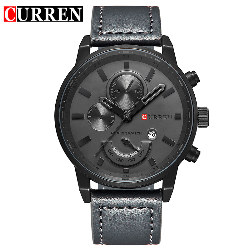 Genuine Leather Strap Watches CURREN Watch For Men Brand Quartz-watch Men's Round Dial Analog Watch with Date Display curren 8193 big numbers quartz watch with date display for men