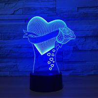Heart Rose Shape Lover Led Night Light For Home Decor USB Rechargeable 3D Vision Led Lamp