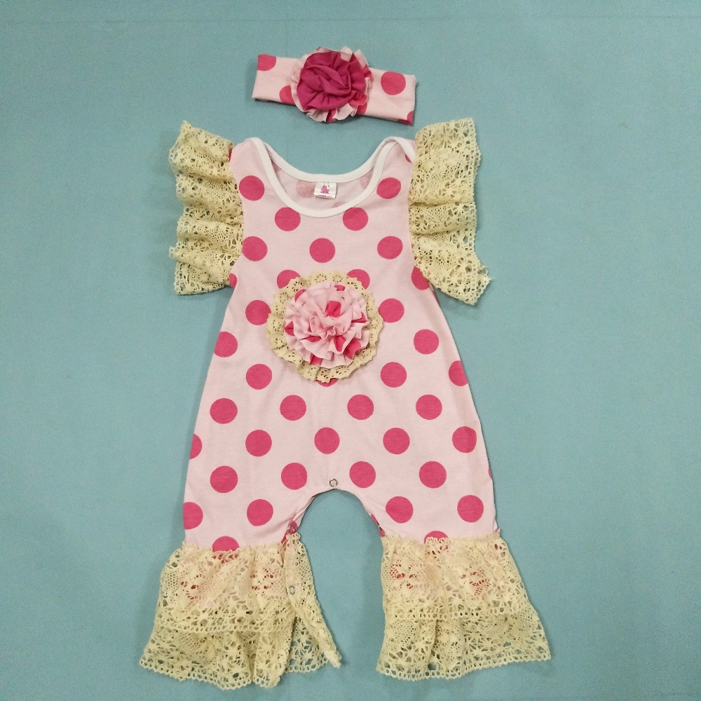 Newborn Baby Knitted Cotton Bodysuits Flared Sleeves Ruffle Infant Boutique Hot Pink Polka Dot Clothing With