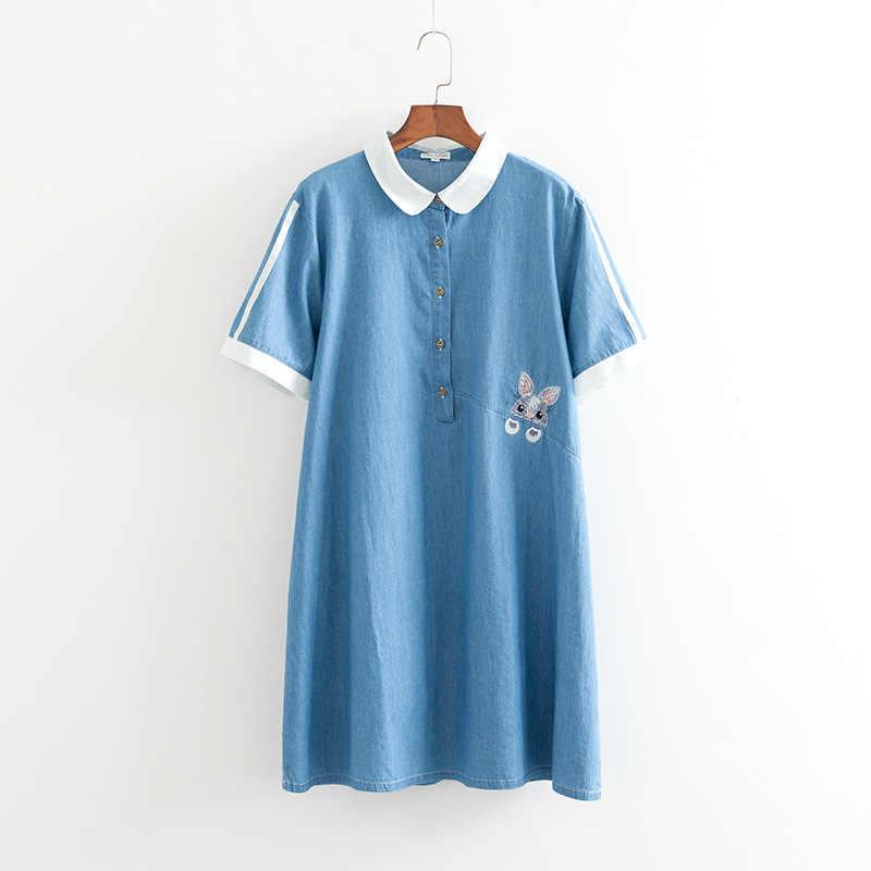 2019 плюс Размеры Повседневное платья Летняя женская одежда модные свободные короткий рукав вышивка джинсовая ткань, Tencel платье F5-1934