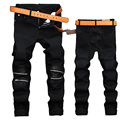 Keduna siso 2017 Hip Hop Knee zipper Leather Patchwork Designer Jeans Men High Quality Straight Black Denim Biker Jeans For Men