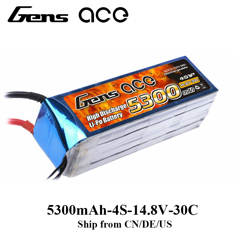 Gens ace Lipo Battery 4S 5300mAh Lipo 14.8V Battery Pack RC Battery for RC Airplane RC Boat 700 Helicopter Drone 1s 2s 3s 4s 5s 6s 7s 8s lipo battery balance connector for rc model battery esc
