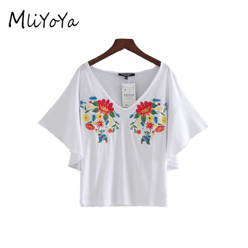 Mliyoya Store MLIYOYA Women Floral Embroidery T Shirts Short Sleeve V Neck Tshirts Ladies Flower Embroidered Tees Tops 2017 Summer