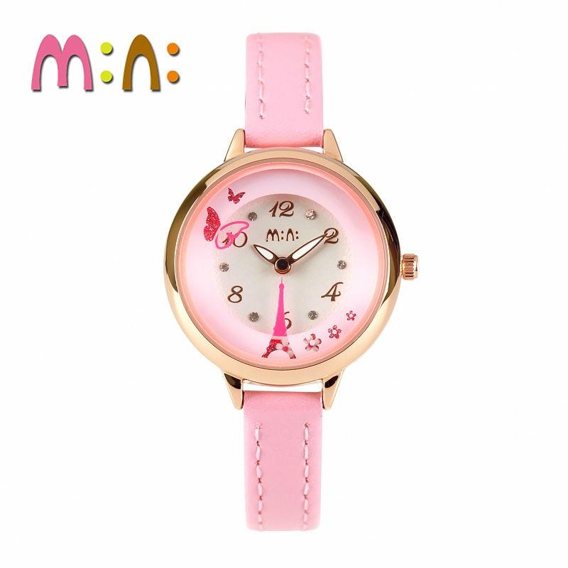 2017 MINI Kids Watch Children Watch Fashion Cute Simple Girls Waterproof Korea Leather clock