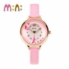 2017 MINI Kids Reloj Niños Reloj de La Manera Linda Simple Muchachas de Corea Impermeable reloj de Cuero