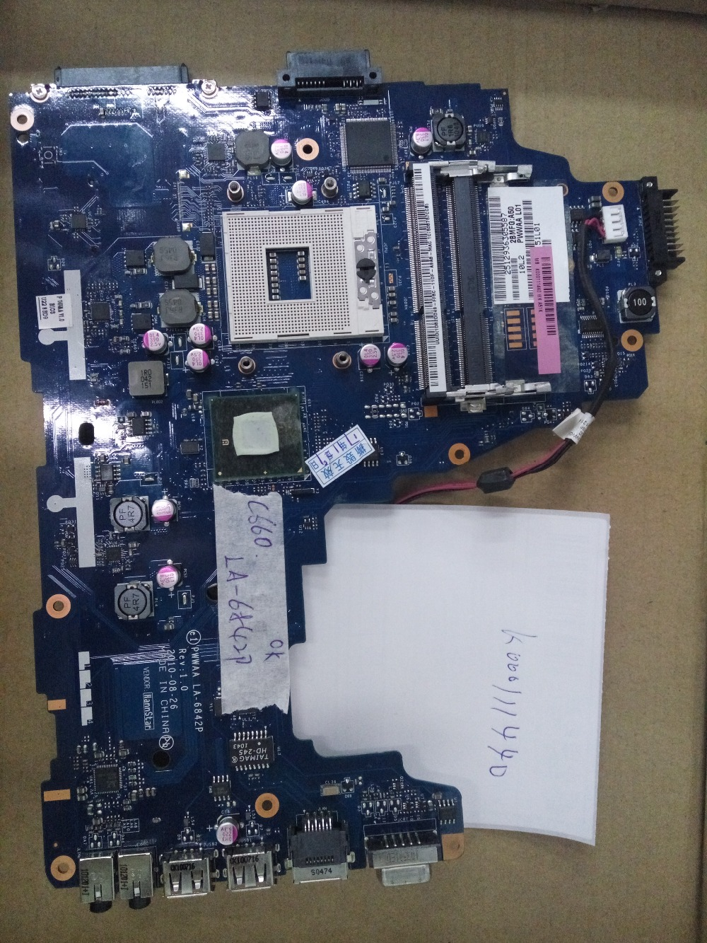 LA-6842P K000111440 HM55 C660 tested by system lap motherboard image