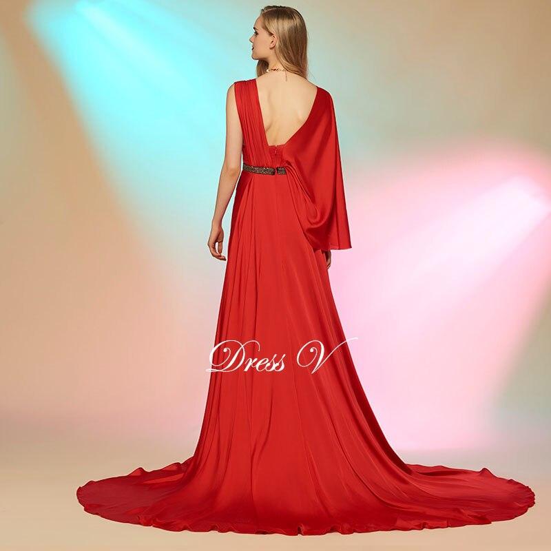 Dressv red long prom dress beading sashes draped sleeveless split ...