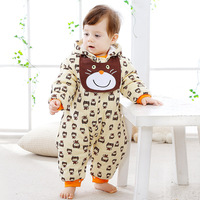 High Quality Baby Girls Winter Romper Baby Boys Cartoon Pattern Romper Infant Baby Hooded Jumpsuit