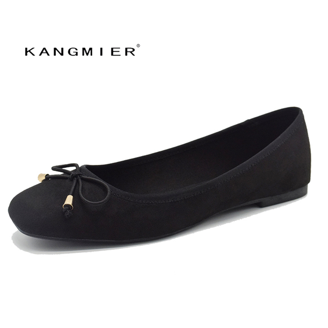 Ballet Flats Shoes Women Black Suede Ballerina Flats Square Toe With Bow  Tie Autumn Comfortable Fashion KANGMIER Brand 07e76305ae