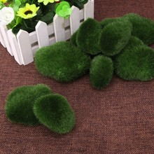 10pcs Green Artificial Moss Stones Grass Plant Poted Home Garden Decor(China)