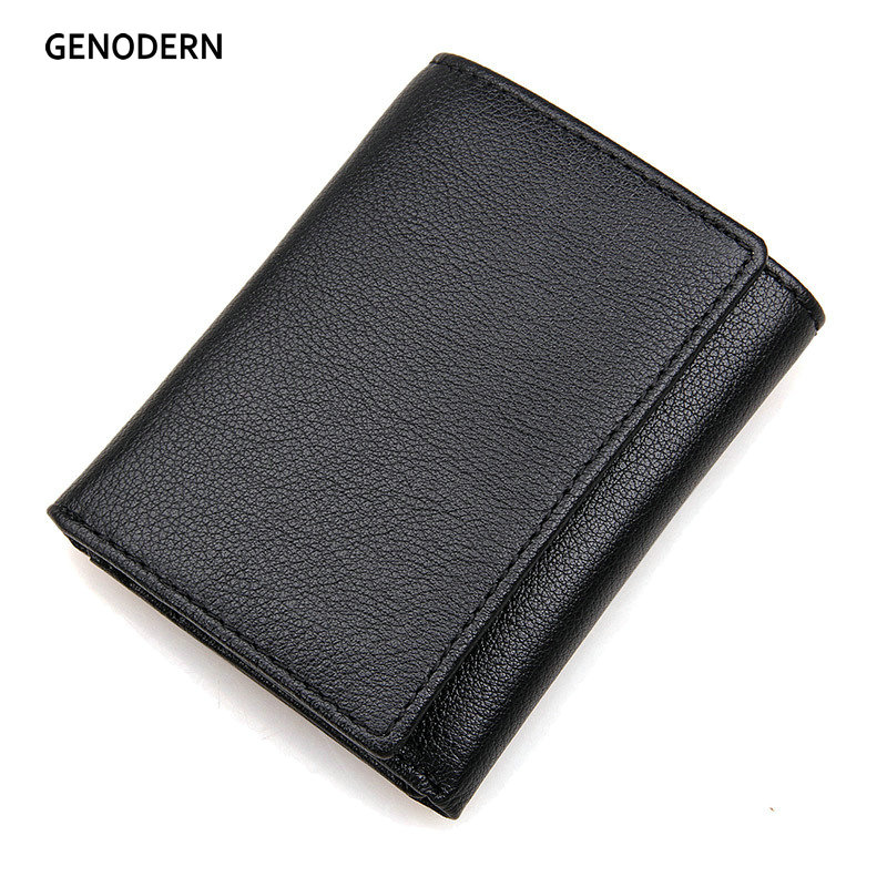 GENODERN New RFID Trifold Male Purse Genuine Leather Short Men Wallet Black Dollar Wallet RFID Wallet genodern 100