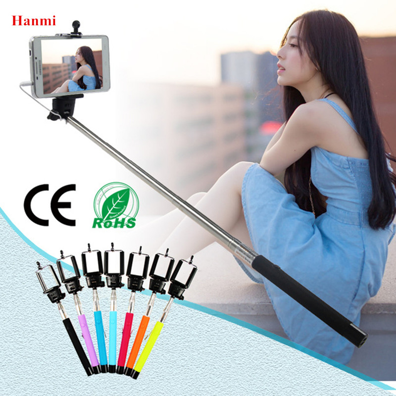 Hanmi Cable Extendable Selfie Stick Tripod Monopod Wired Remote Control Selfie Stick For iPhone Samsung Smartphone