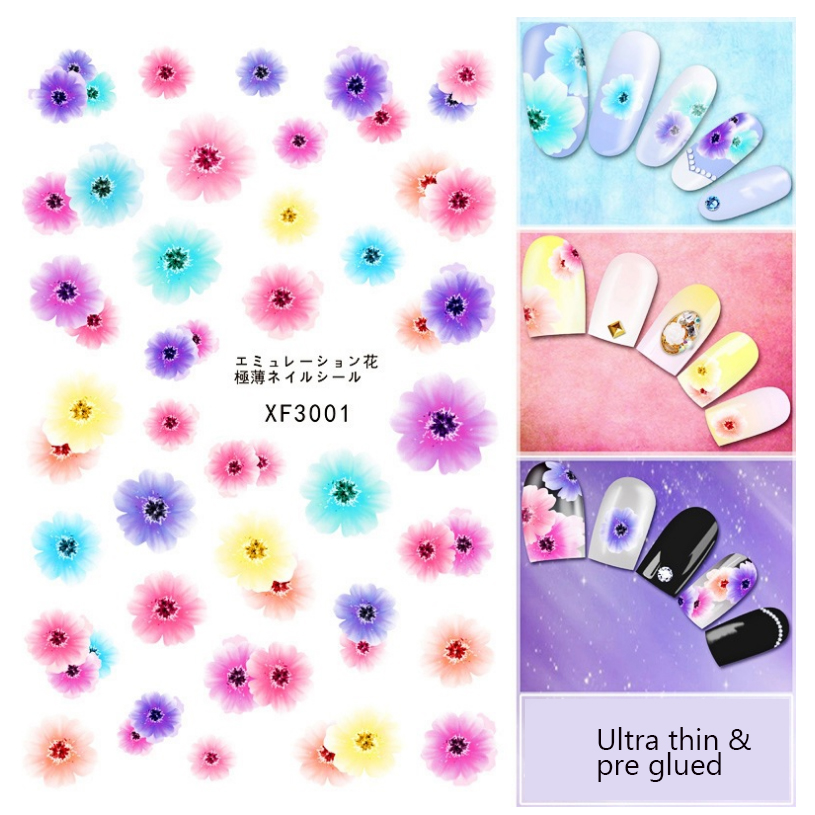 1 Sheet Colorful Nail Art Flower Painting Nail Pre-glued Transfer Stickers For Nail Art DIY Decoration Foil Decals fwc hot diy designs nail art beauty flower water stickers nails decoration decals tools