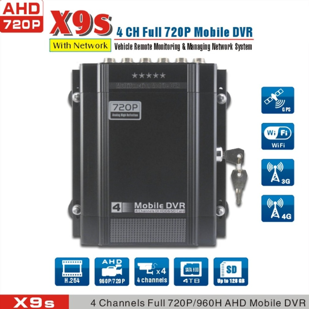 Anti Vibration 4CH HDD recording 4G mobile DVR,720P ahd dvr for bus/car/vehicle/truck,X9s цены