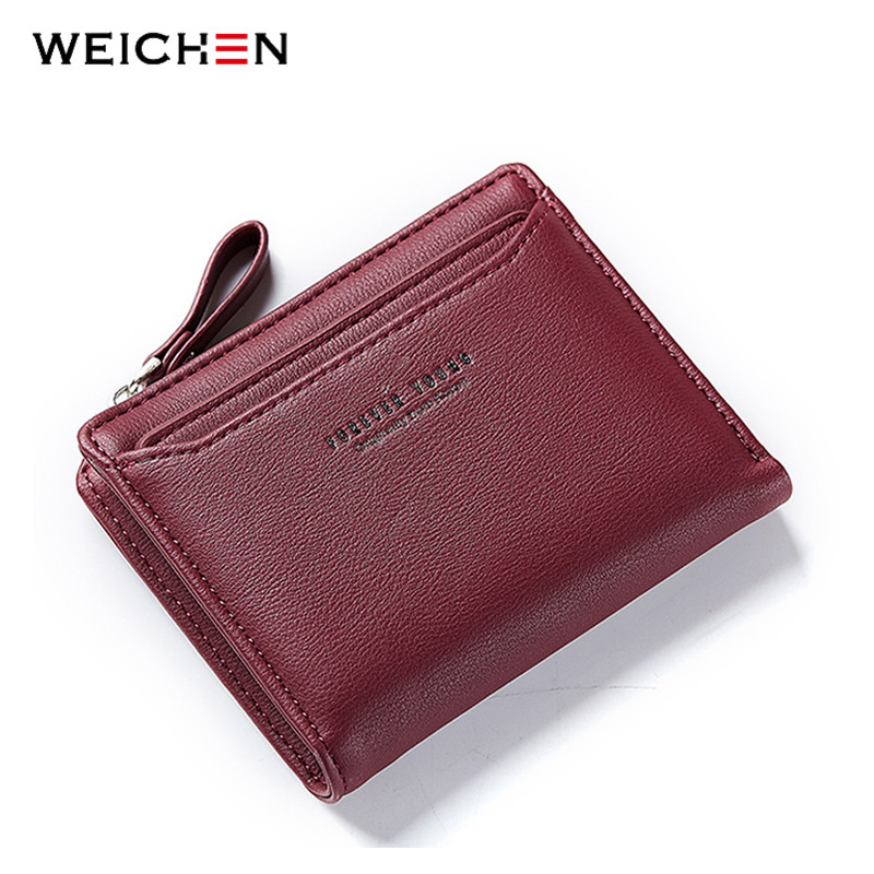 WEICHEN Women Casual Short Wallets Fashion Lady id Card Holder Coin Pocket Small Wallet Solid Purse