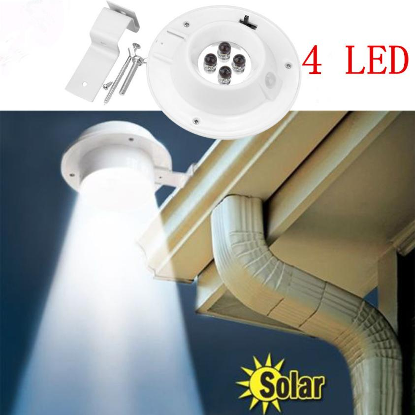 New 4 LED Solar Powered Gutter Light Outdoor/Garden/Yard/Wall/Fence/Pathway Lamp May9 Drop Shipping