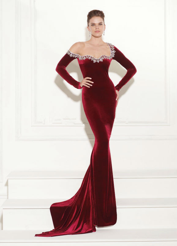 evening dresses Red Velvet Dress