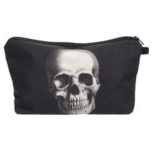 New Women Neceser Portable Make Up Bag Case 3D Printing Skull Black Organizer Bolsa feminina Travel Toiletry Bag Cosmetic Bag
