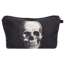 New Women Neceser Portable Make Up Bag Case 3D Printing Skull Black Organizer Bolsa feminina Travel