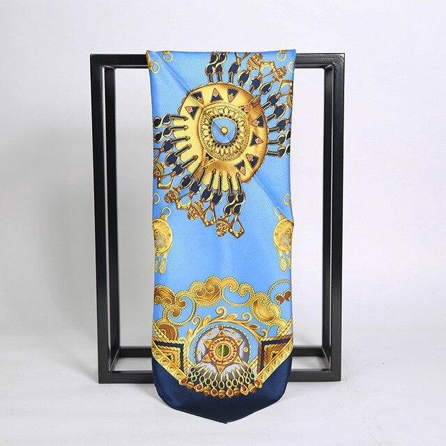 3 Цветов 53*53 СМ Золотая цепь Печатных небольшой шелковый платок 2017 НОВЫЕ женщин небольшой Площади Шелковые шарфы 100% Шелковый шарф синий