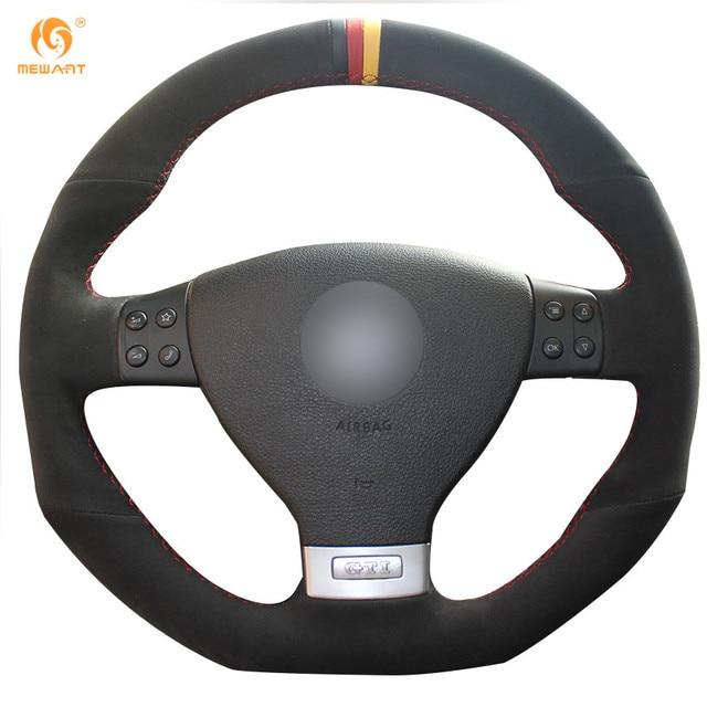 MEWANT Black Suede Black Red Yellow Maker Car Steering Wheel Cover for Volkswagen Golf 5 Mk5 GTI VW Golf 5 R32 Passat R GT 2005