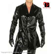 Sexy Black Latex jacket Long sleeve Rubber coat shirt Gummi Uniform blouse Catsuit Top clothes clothing plus size XXXL