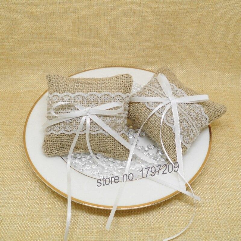 Rustic Wedding Ideas Using Burlap: Free Shipping 1PCS Burlap &Lace Ring Pillow Hessian Ring