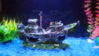 27*10*15cm High Quality Modern Design Resin Boat Vessel Ornament Decoration For Fish Tank Cave