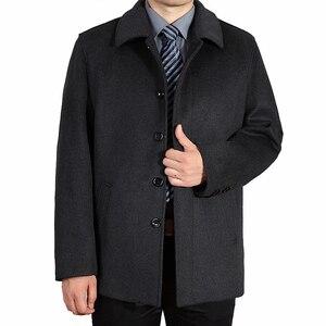 Image 2 - Mu yuan yang Casual kurtka z wełny mężczyźni zimowa wełna i mieszanki pojedyncze łuszcz mężczyzna wełniany płaszcz skręcić w dół kołnierz kaszmiru odzież