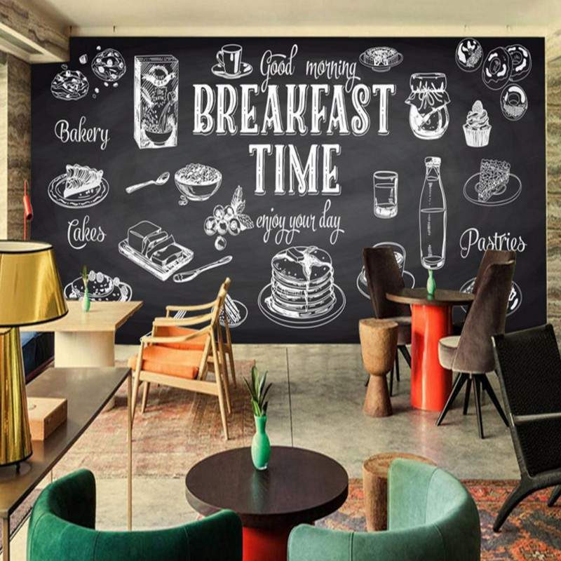 Photo wallpaper hand painted black white mural food for Cafe mural wallpaper