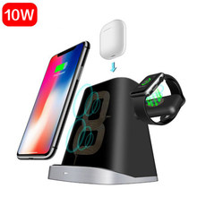 3 IN 1 For Apple Watch Magnetic Charger IPhone 8 Plus X XR XS AirPods Fast QI Wireless Charger For Samsung S9 S8 S7 Dock Station(China)