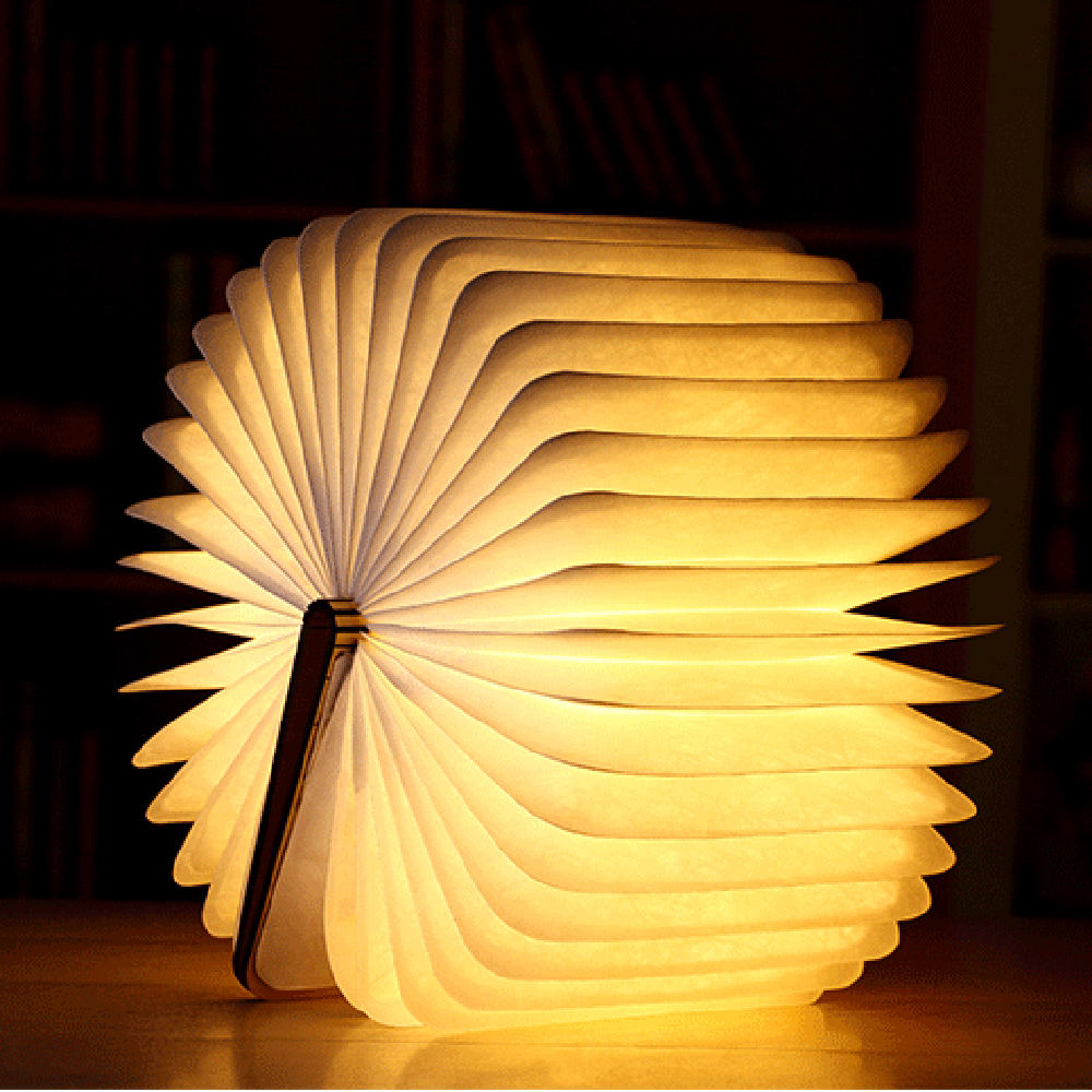 Usb Rechargeable Book Lamp Foldable Wooden Book Shape Lamp Magnetic Foldable Portable Night Light Home Living Room Decor