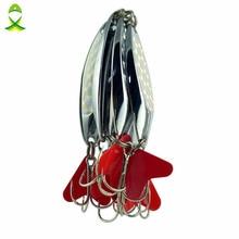JSM 5pcs/lot 40g Brand Spoon metal Fishing Lures Hard Fishing Spoon Lure Jigging metal fishing Baits with treble hooks