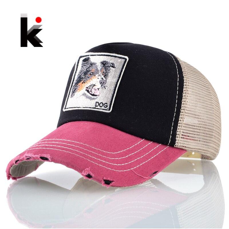 Prix pour Été respirant casquette de camionneur de maille femmes chien broderie patch baseball caps hommes snapback hip hop chapeau k-pop gorras os casquette