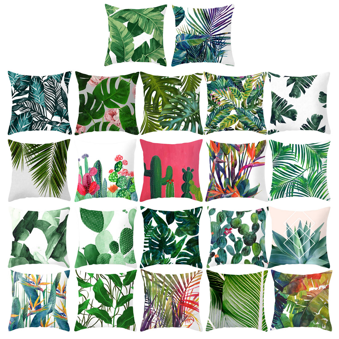 45x45cm Pillow Cover Cushion Cover Tropical Flower Pillow Case Soft Cotton polyester Green Plant Sofa Home Car(China)