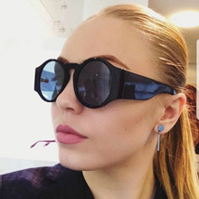 2018 Cat Luxury Brand Design Retro Sunglasses Women Round Lens Oversized Shades for Red Len High Quality Gothic